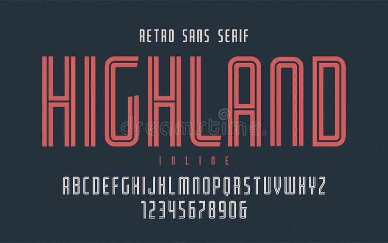 De hooglandvector condenseerde gealigneerde retro lettersoort, lette in hoofdletters vector illustratie
