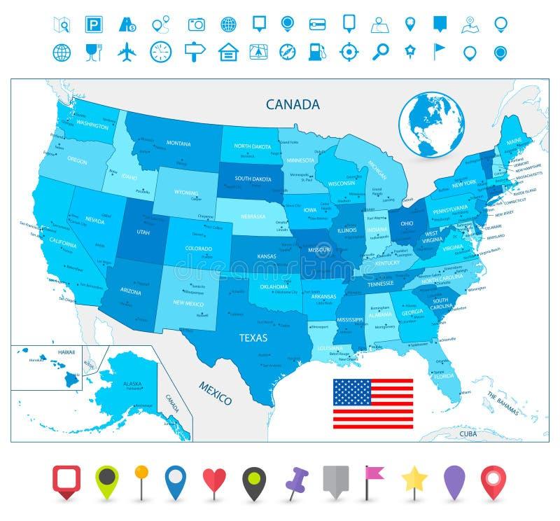 De hoogst gedetailleerde kaart van de V.S. in kleuren van blauw met navigatiepictogrammen stock illustratie