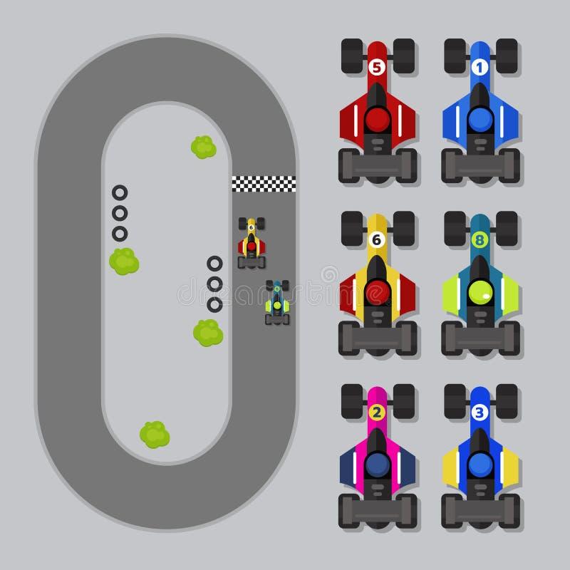 De hoogste activa Formule 1 van het menings 2D Spel vector illustratie