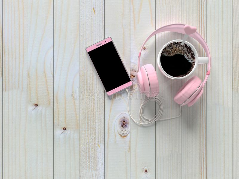 De hoogste drank van de menings zwarte koffie met hoofdtelefoon en smartphone royalty-vrije illustratie