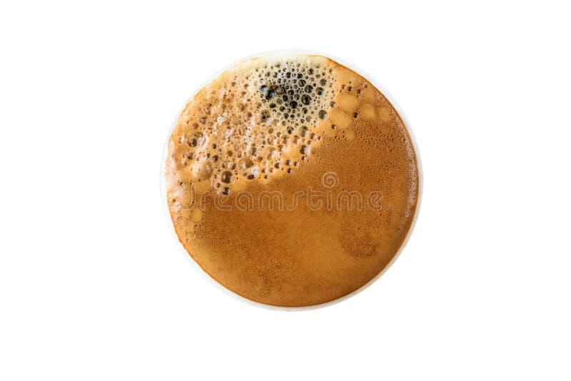 De hoogste koffiecappuccino isoleerde witte achtergrond stock foto's