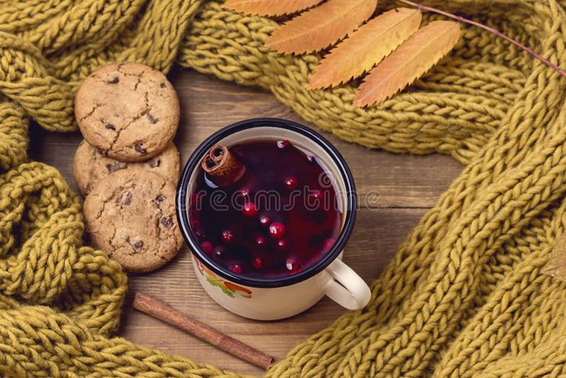 De hoogste Mening van Comfortabel Autumn Morning ontbijt thuis met Hete de KoekjesPijpjes kaneel van de Bessenthee de Gele Wollen stock foto
