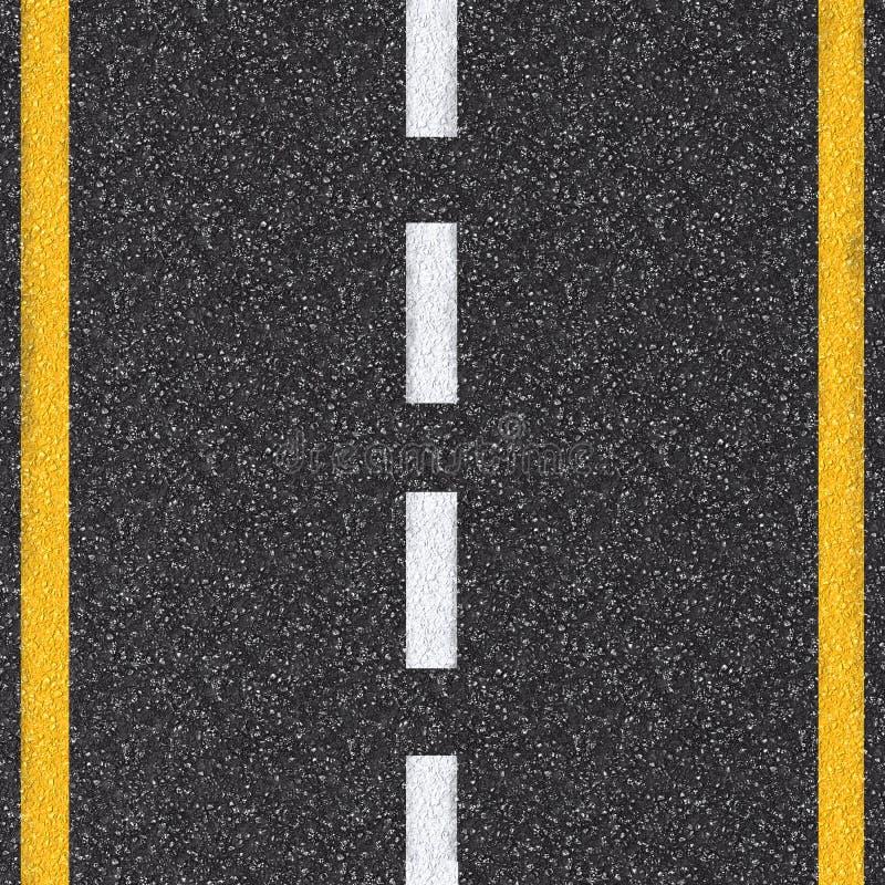 De hoogste mening van de asfaltweg met witte en gele lijnen stock fotografie
