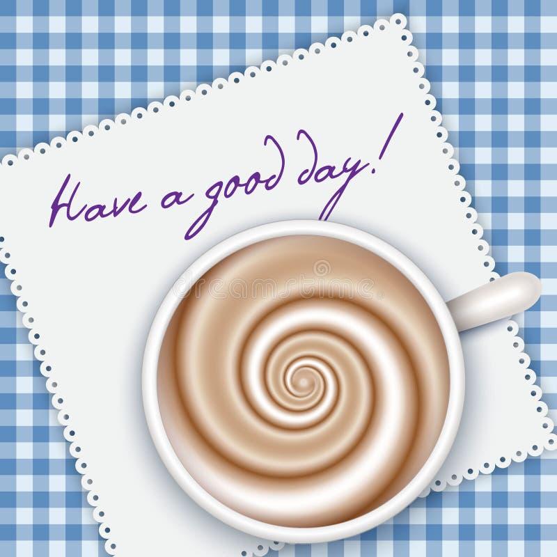 De hoogste mening van de koffiekop, blauwe gingangachtergrond vector illustratie