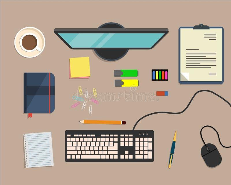 De hoogste mening van een bureauachtergrond, waar er een monitor is, toetsenbord, computermuis, bureau heeft bezwaar vector illustratie