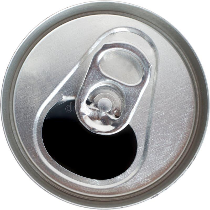 De hoogste Mening van een Open Zilveren Frisdrank kan royalty-vrije stock fotografie