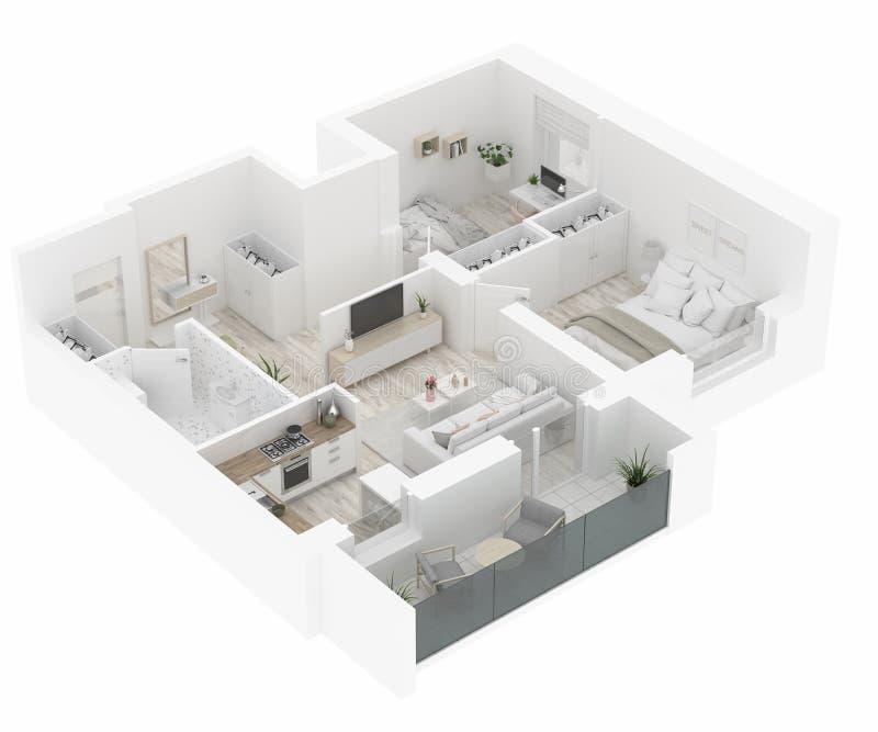 De hoogste mening van de huisplattegrond Flatbinnenland op witte achtergrond wordt geïsoleerd die 3d geef terug stock illustratie