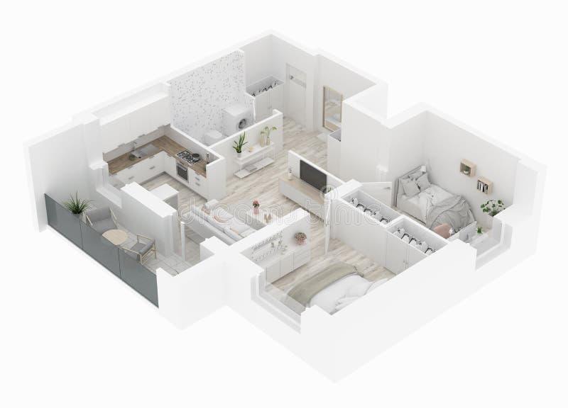 De hoogste mening van de huisplattegrond Flatbinnenland op witte achtergrond wordt geïsoleerd die 3d geef terug royalty-vrije illustratie