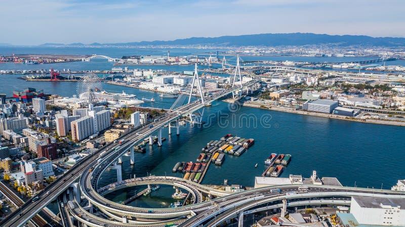 De hoogste mening van Osaka Expressway, Hoogste mening over de weg, snelweg stock foto
