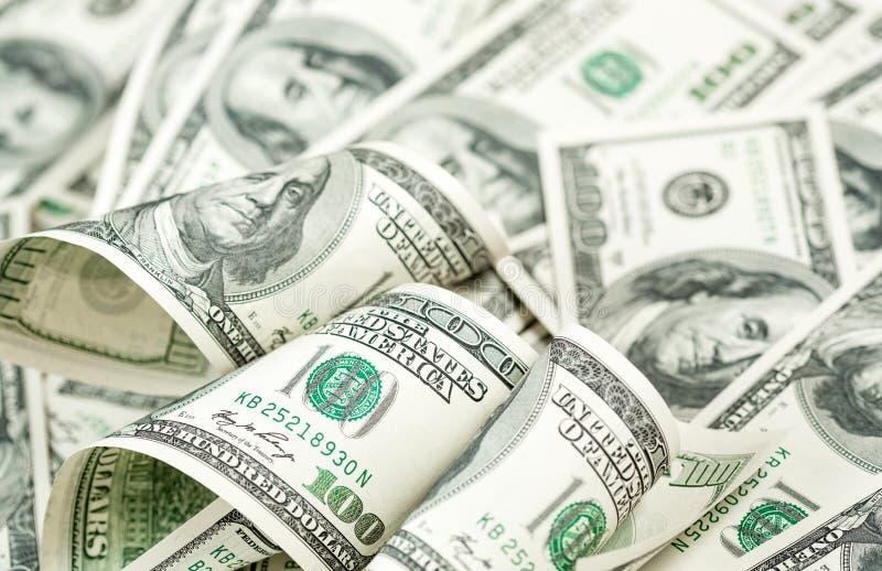 De Hoop Van Honderd Dollarsrekeningen Royalty-vrije Stock Fotografie