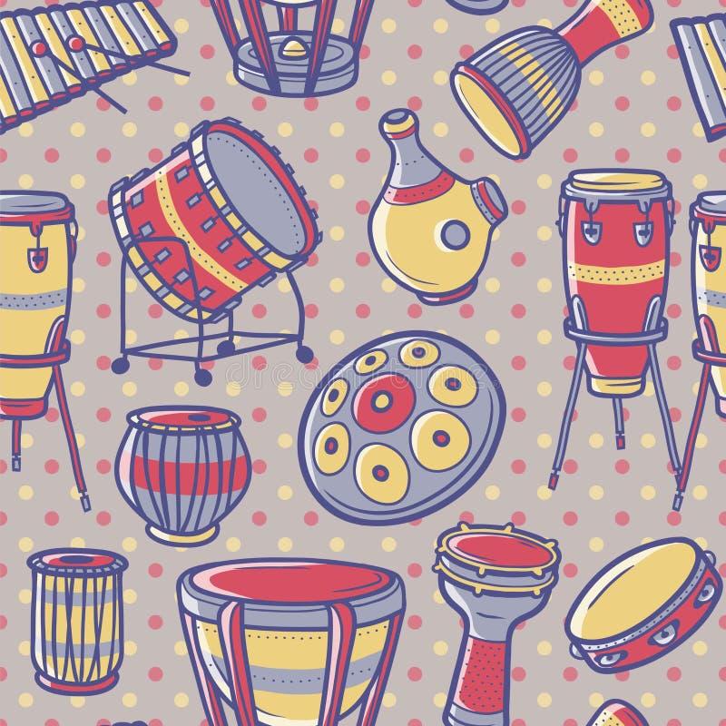 De hoornreeks 3 van de muziek Geplaatste trommels percussie Vector patroon vector illustratie