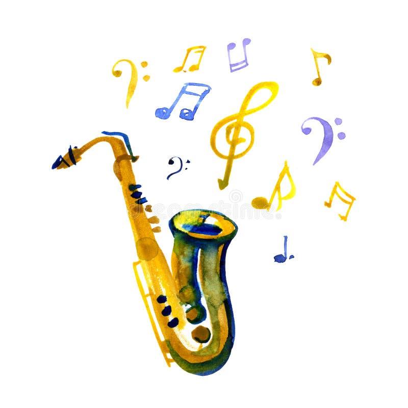 De hoornreeks 3 van de muziek saxophone Geïsoleerdj op witte achtergrond De illustratie van de waterverf royalty-vrije illustratie