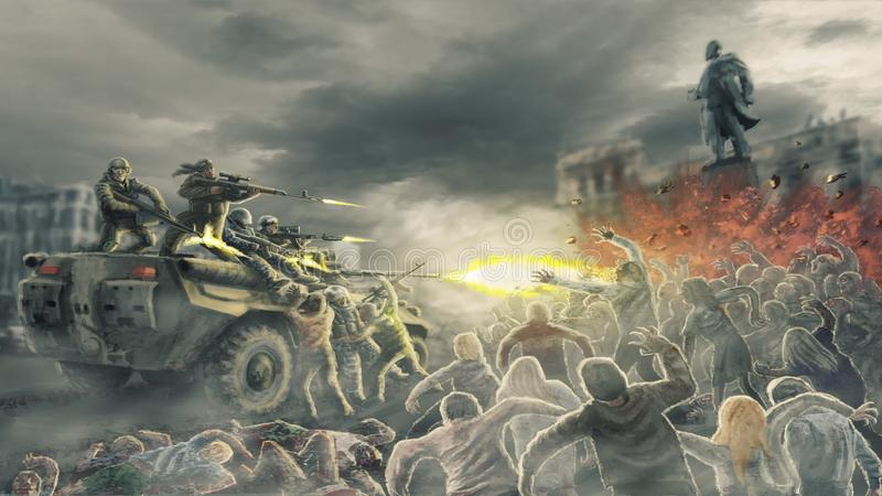 De hordezombieën vallen het schieten van militairen op straat van dode stad aan vector illustratie
