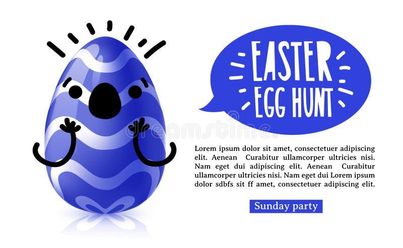 De horiznotal banner van het malplaatjeontwerp voor paaseijacht Uitnodiging voor Pasen met funky blauw ei met emotioneel royalty-vrije illustratie