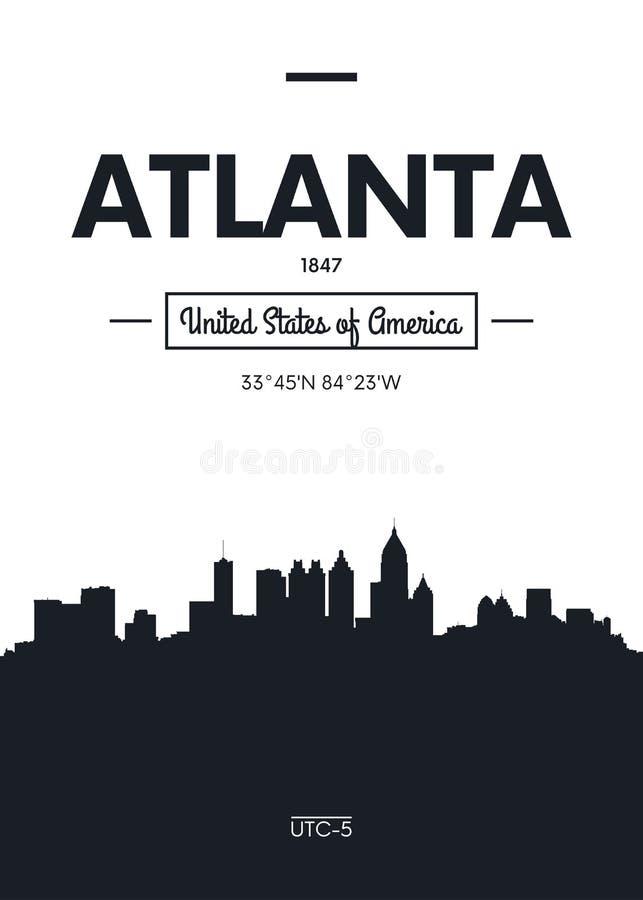 De horizon Atlanta, Vlakke stijl vectorillustratie van de affichestad royalty-vrije illustratie