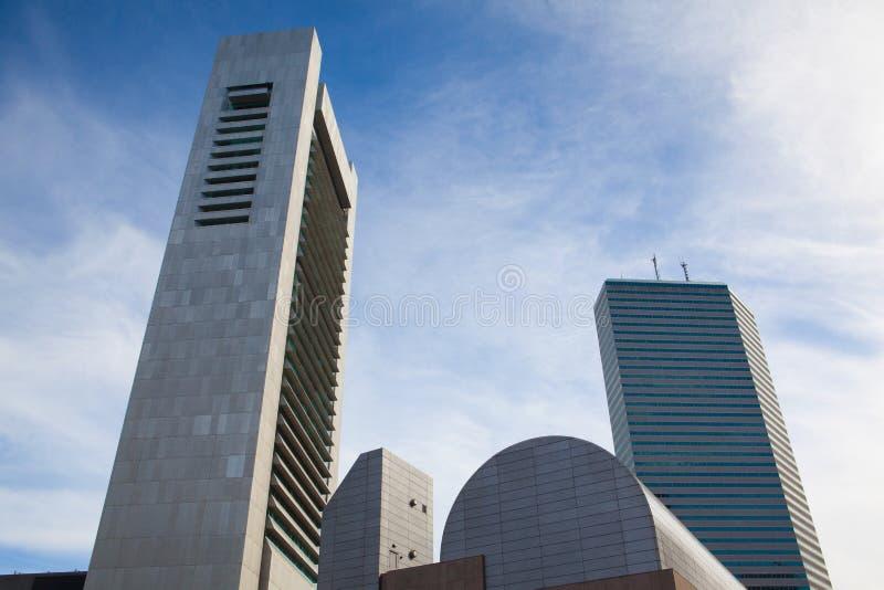 De Horizon die van Boston Financieel District tonen bij zonsondergang royalty-vrije stock foto
