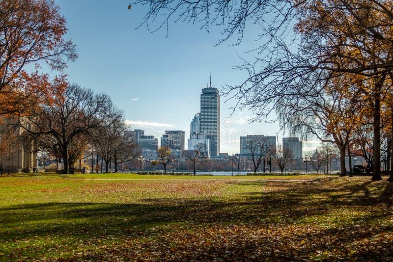 De horizon en Charles River van Boston van MIT in Cambridge - Massachusetts, de V.S. wordt gezien die royalty-vrije stock afbeelding