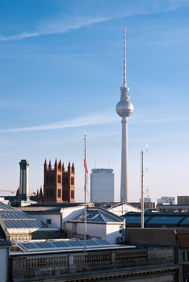 De horizon en Fernsehturm van Berlijn royalty-vrije stock foto