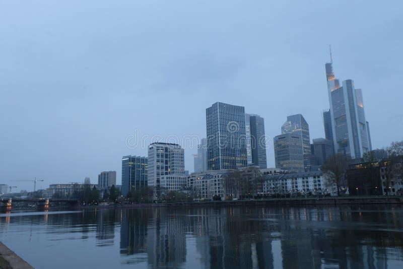 De Horizon Globaal Financieel District van Frankfurt royalty-vrije stock afbeelding