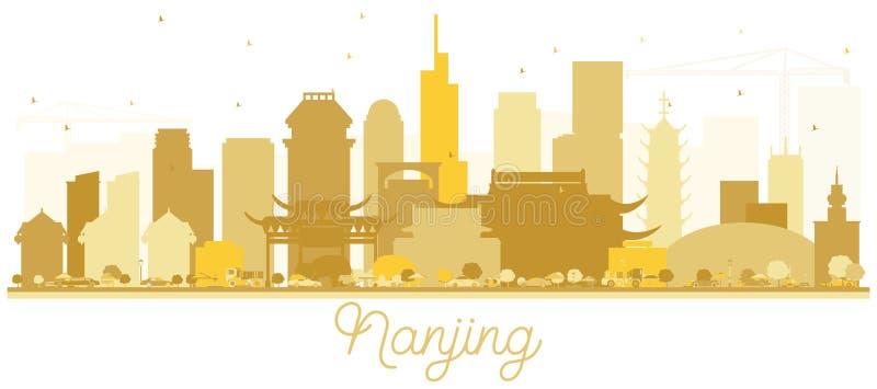 De horizon Gouden silhouet van Nanjingschina vector illustratie