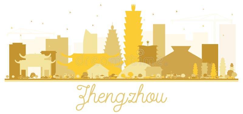 De horizon gouden silhouet van de Zhengzhoustad vector illustratie