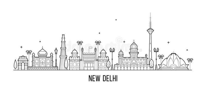 De horizon India van New Delhi deze vector van stadsgebouwen stock illustratie