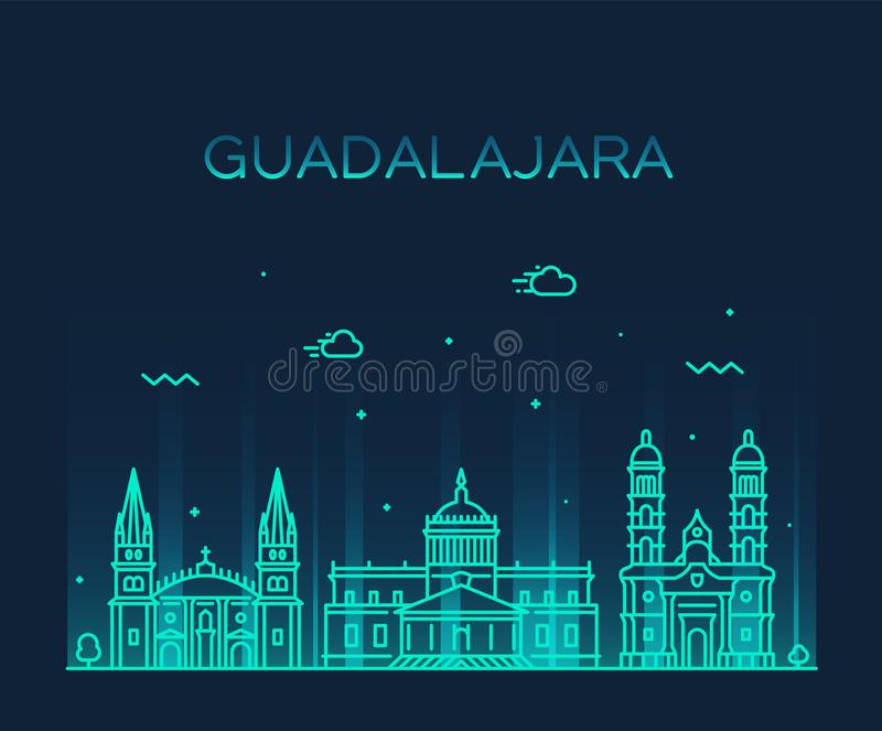De horizon Jalisco Mexico van Guadalajara een lineaire vector stock illustratie