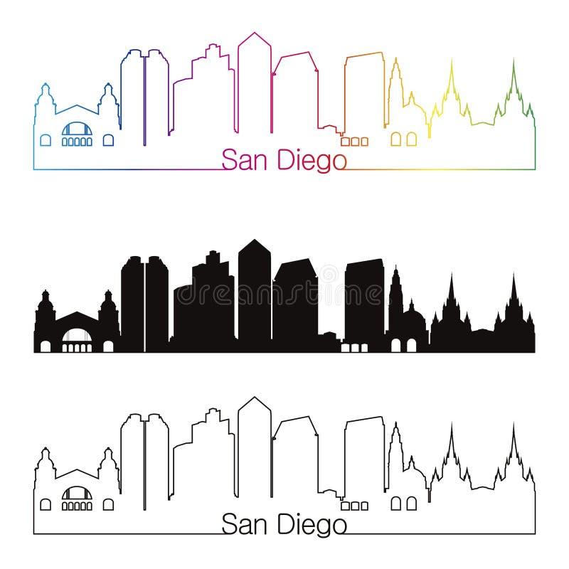 De horizon lineaire stijl van San Diego met regenboog stock illustratie