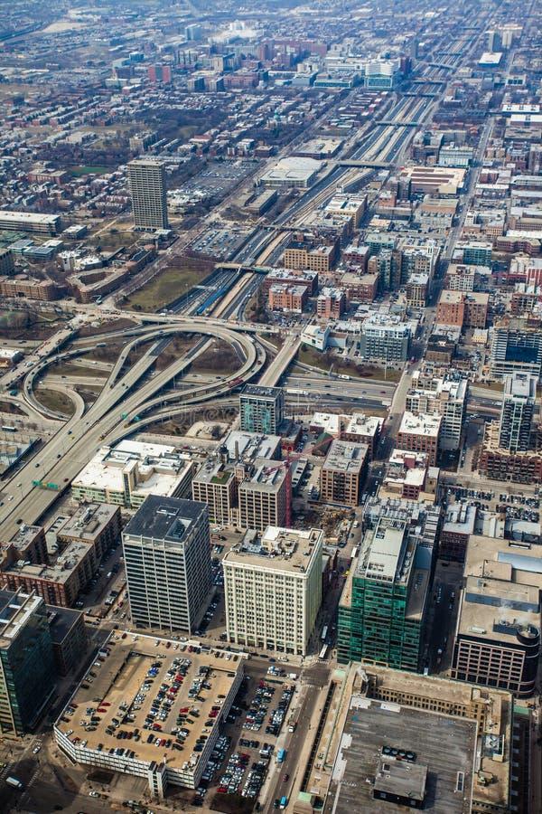 De horizon luchtmening van Chicago royalty-vrije stock afbeeldingen