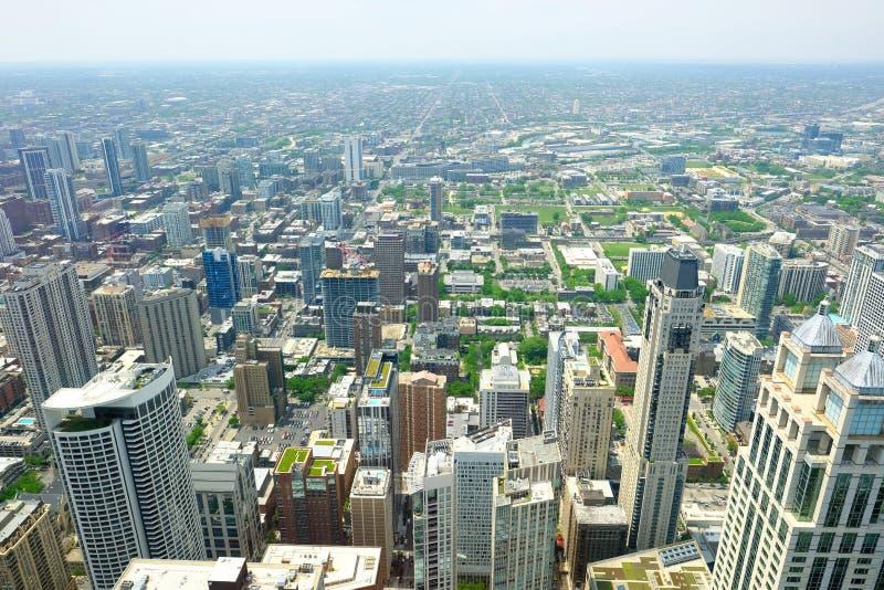 De horizon luchtmening van Chicago stock fotografie
