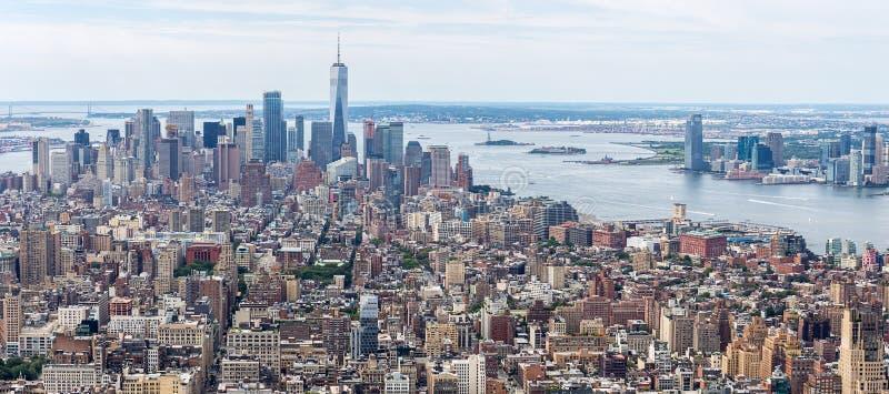 De Horizon Luchtmening van Loiwermanhattan, NYC stock afbeeldingen