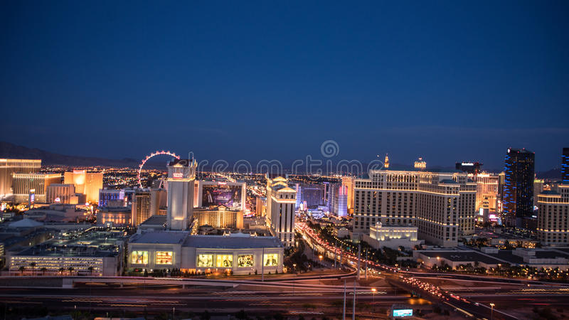 De Horizon Panarama van Las Vegas bij Nacht stock fotografie