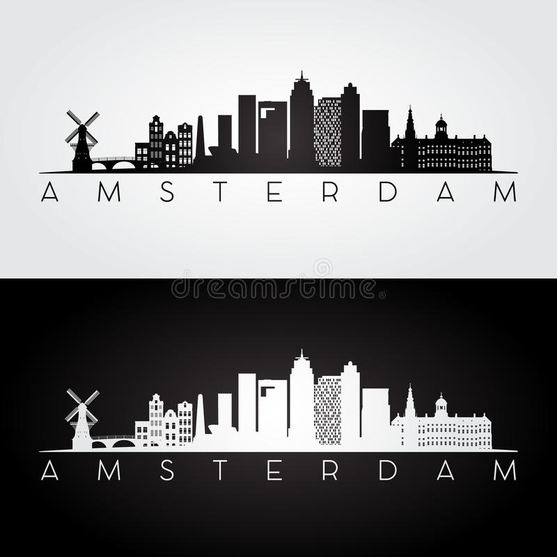 De horizon van Amsterdam en oriëntatiepuntensilhouet vector illustratie