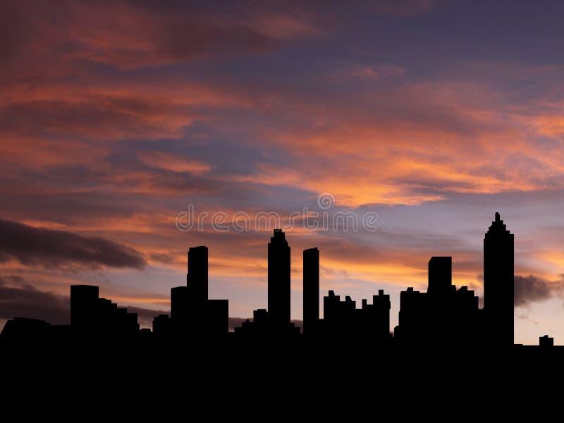 De horizon van Atlanta bij zonsondergang stock illustratie