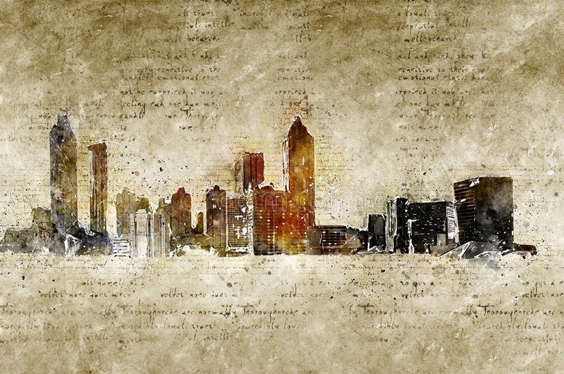 De horizon van Atlanta in moderne en abstracte wijnoogst ziet eruit stock illustratie