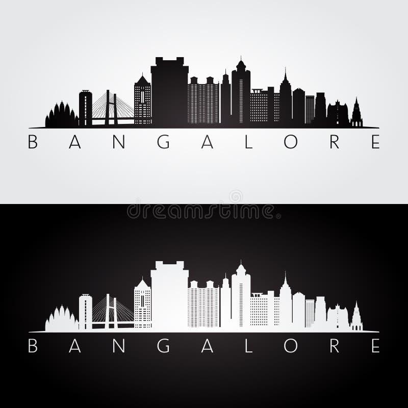 De horizon van Bangalore en oriëntatiepuntensilhouet, zwart-wit ontwerp stock illustratie