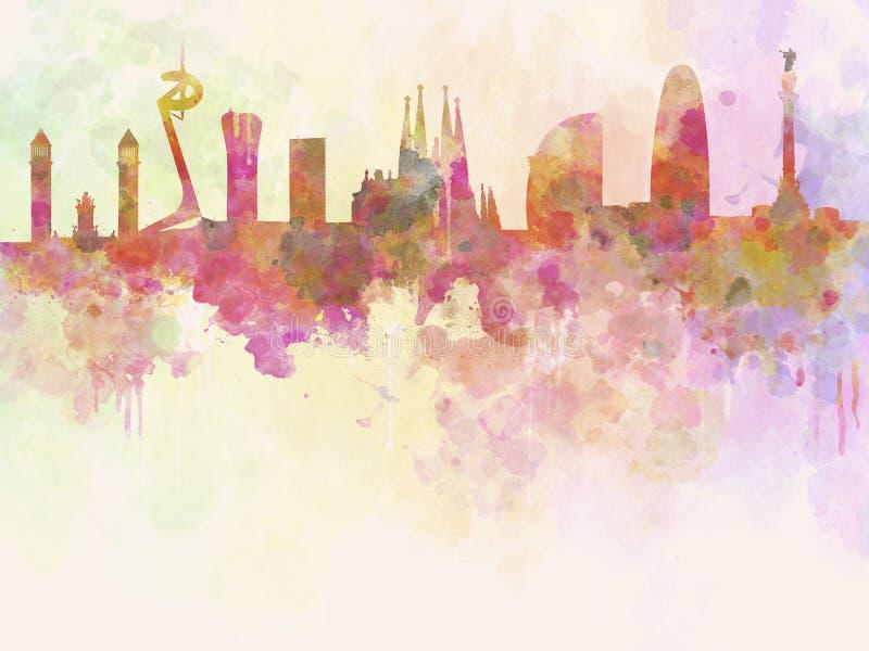 De horizon van Barcelona op watercolourachtergrond royalty-vrije illustratie