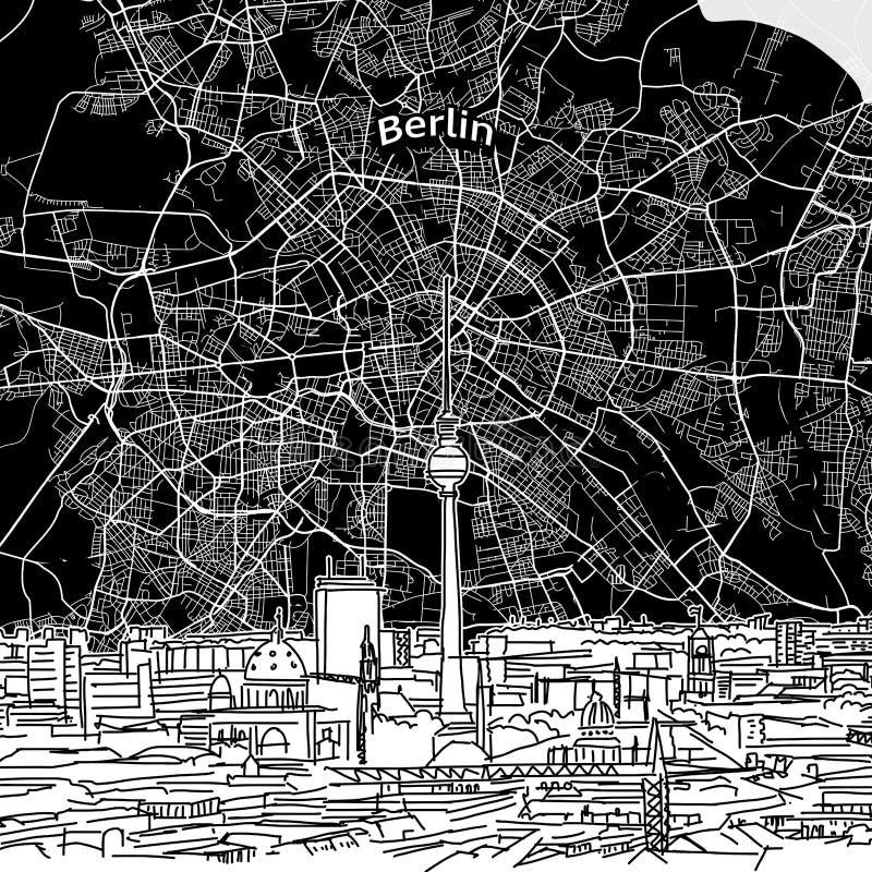 De horizon van Berlijn met kaart royalty-vrije illustratie