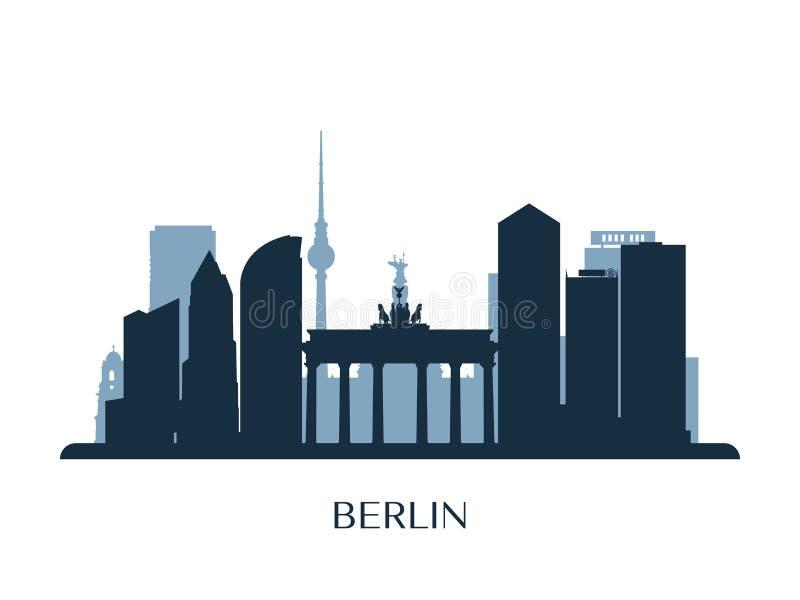 De horizon van Berlijn, zwart-wit silhouet stock illustratie