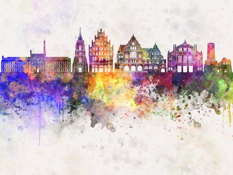 De horizon van Bielefeld op waterverfachtergrond stock illustratie