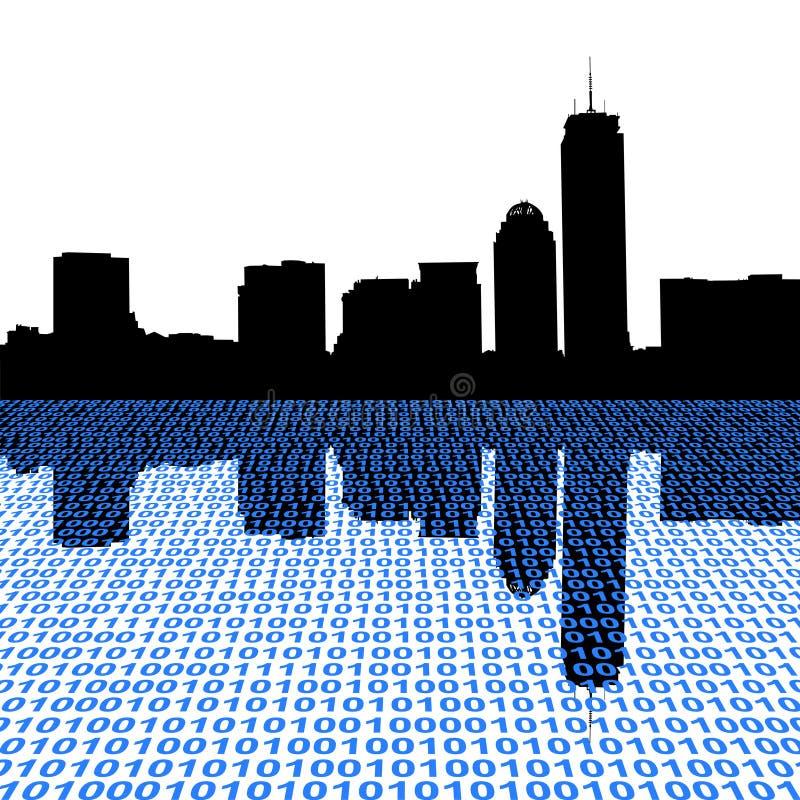 De horizon van Boston met binair getal royalty-vrije illustratie
