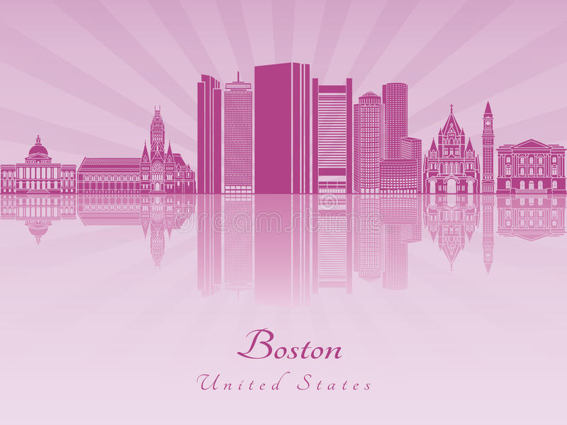 De horizon van Boston in purpere stralende orchidee royalty-vrije illustratie