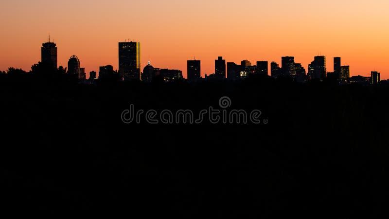 De Horizon van Boston in Silhouet stock afbeelding