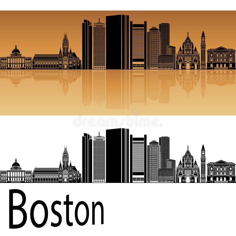De horizon van Boston in sinaasappel royalty-vrije illustratie