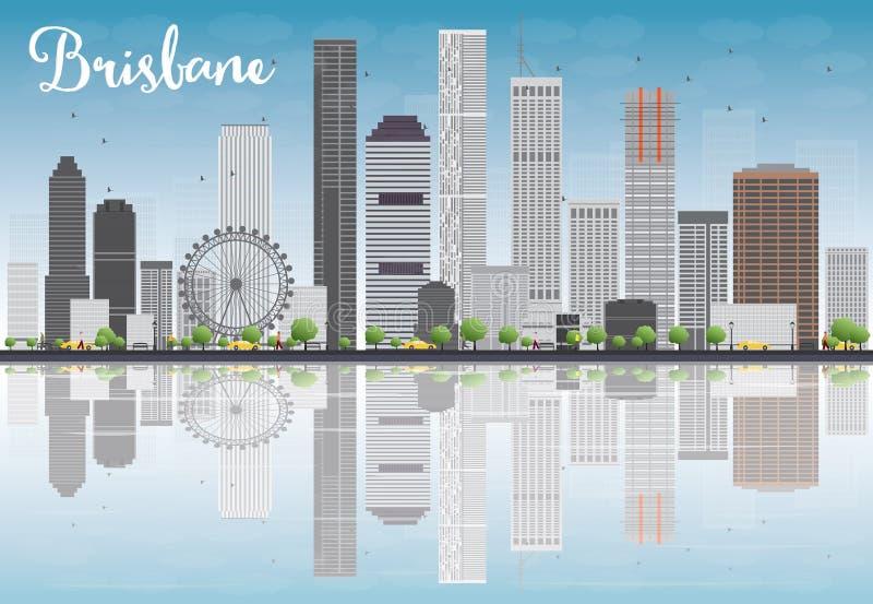 De horizon van Brisbane met de grijze bouw en blauwe hemel stock illustratie