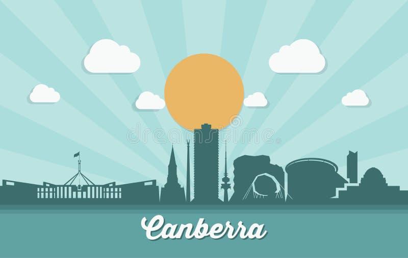 De horizon van Canberra - Australië - vectorillustratie royalty-vrije illustratie