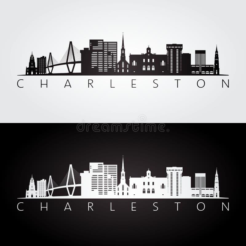De horizon van Charleston de V.S. en oriëntatiepuntensilhouet royalty-vrije illustratie