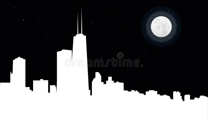 De Horizon van Chicago bij Nacht royalty-vrije stock foto