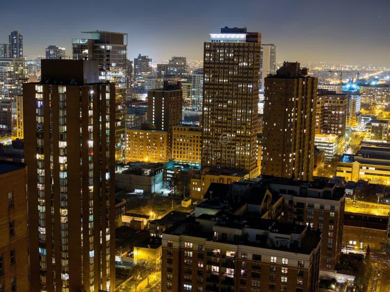 De Horizon van Chicago bij Nacht, de V.S. royalty-vrije stock afbeelding
