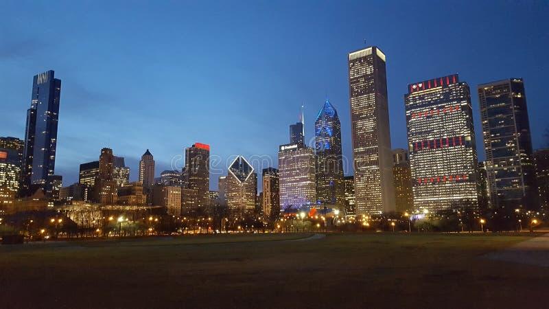 De horizon van Chicago bij schemer stock foto's